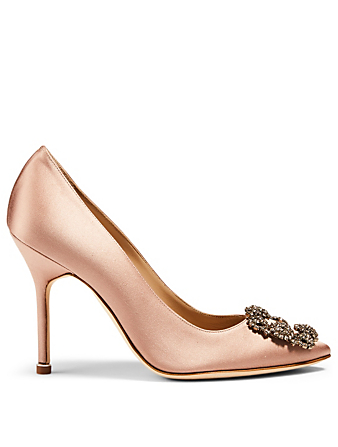 MANOLO BLAHNIK Hangisi 105 Satin Pumps Women's Neutral