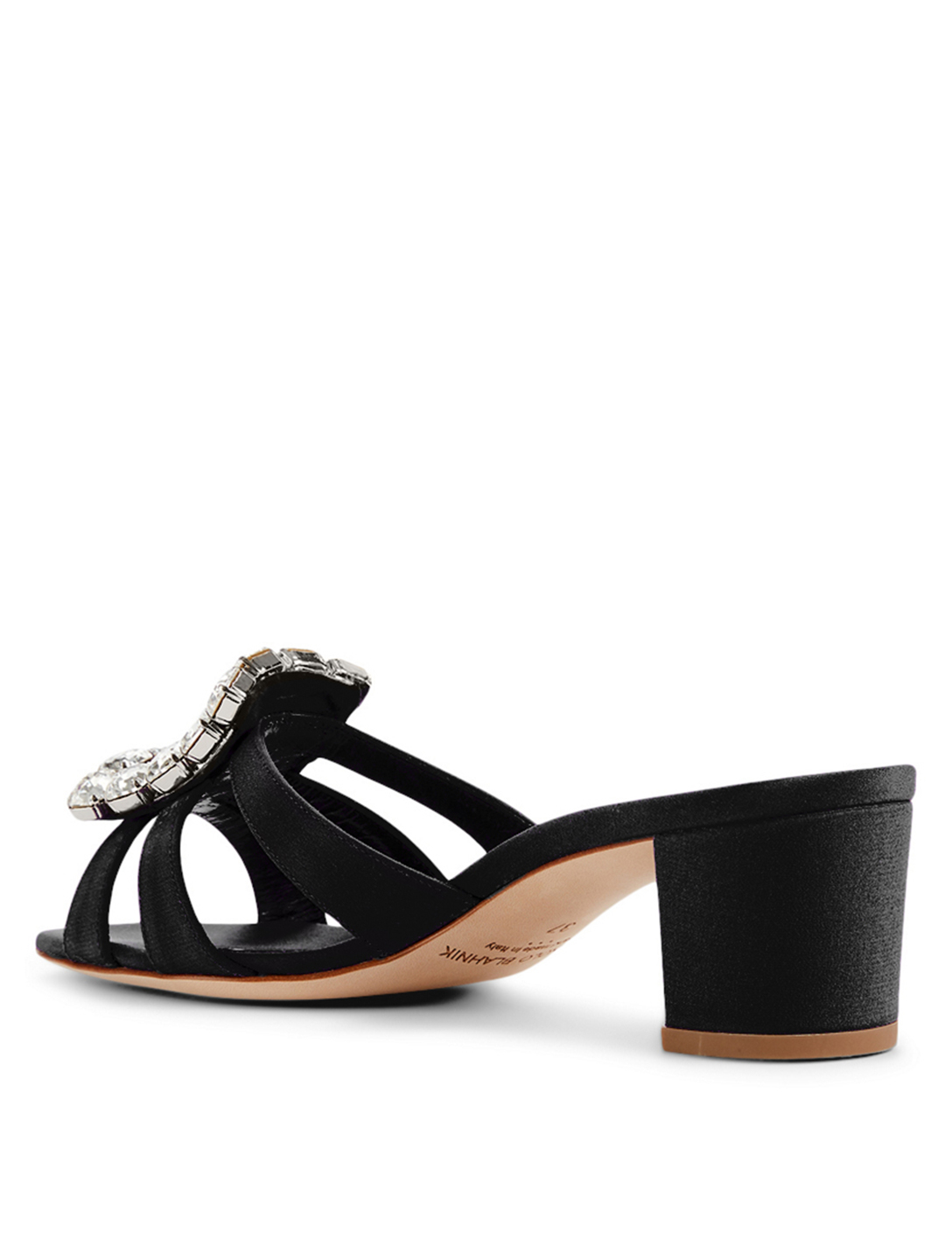 MANOLO BLAHNIK Ilunanew 50 Crepe de Chine Heeled Mule Sandals Women's Black