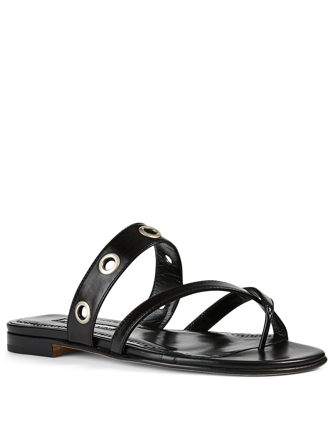 MANOLO BLAHNIK Susoch Leather Thong Sandals Women's Black