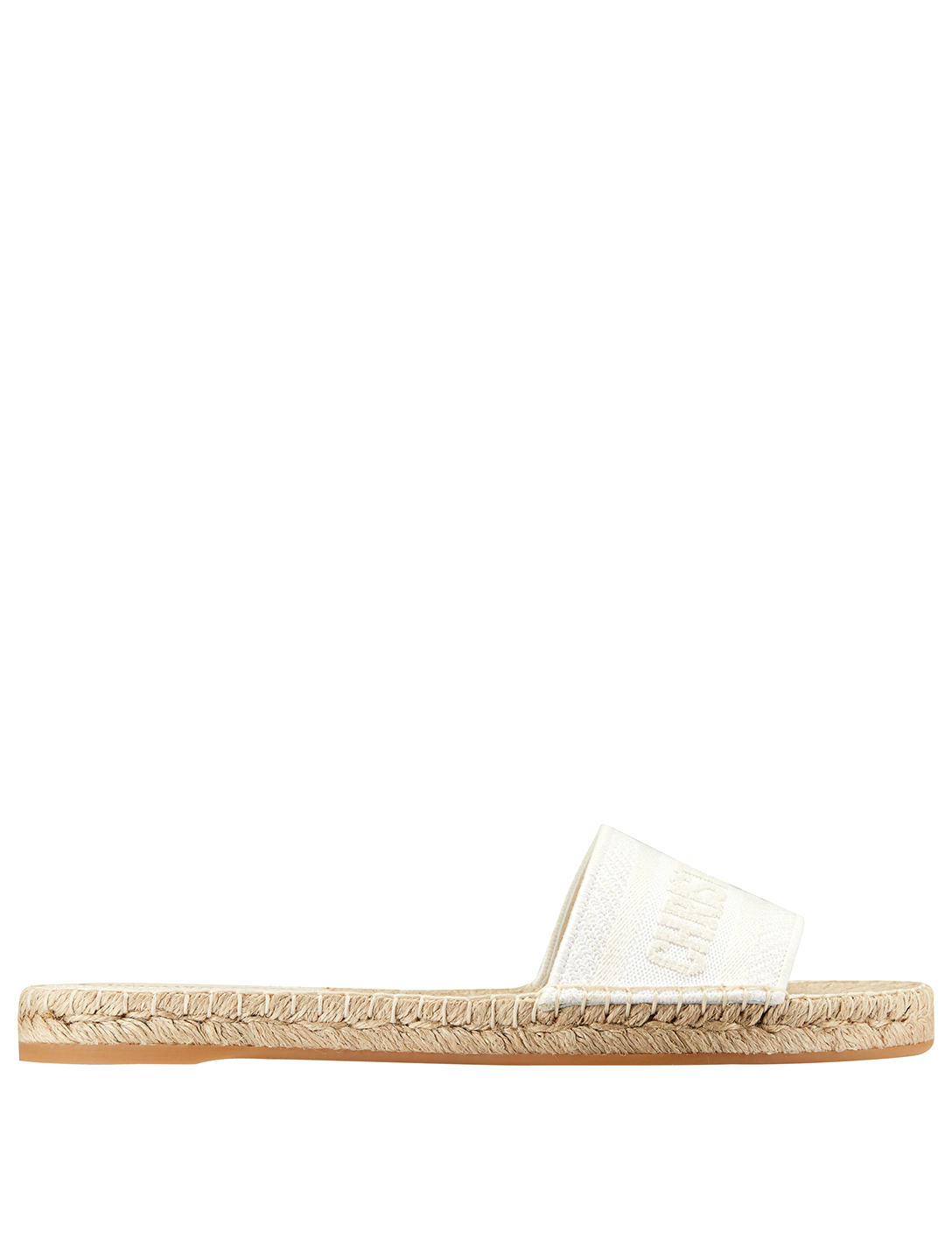 DIOR Dior Granville Embroidered Cotton Espadrille Slide Sandals Women's White
