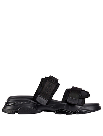 DIOR D-Wander Technical Fabric Slide Sandals In Camouflage Women's Black