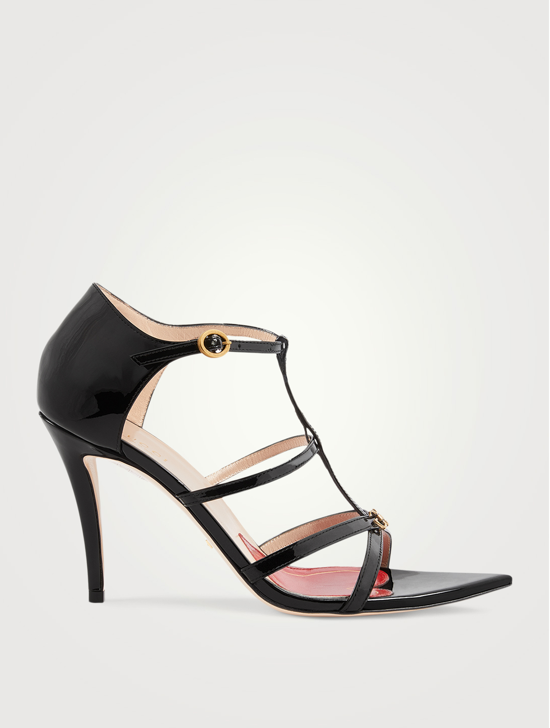 GUCCI Patent Leather Heeled Sandals With Double G Women's Black