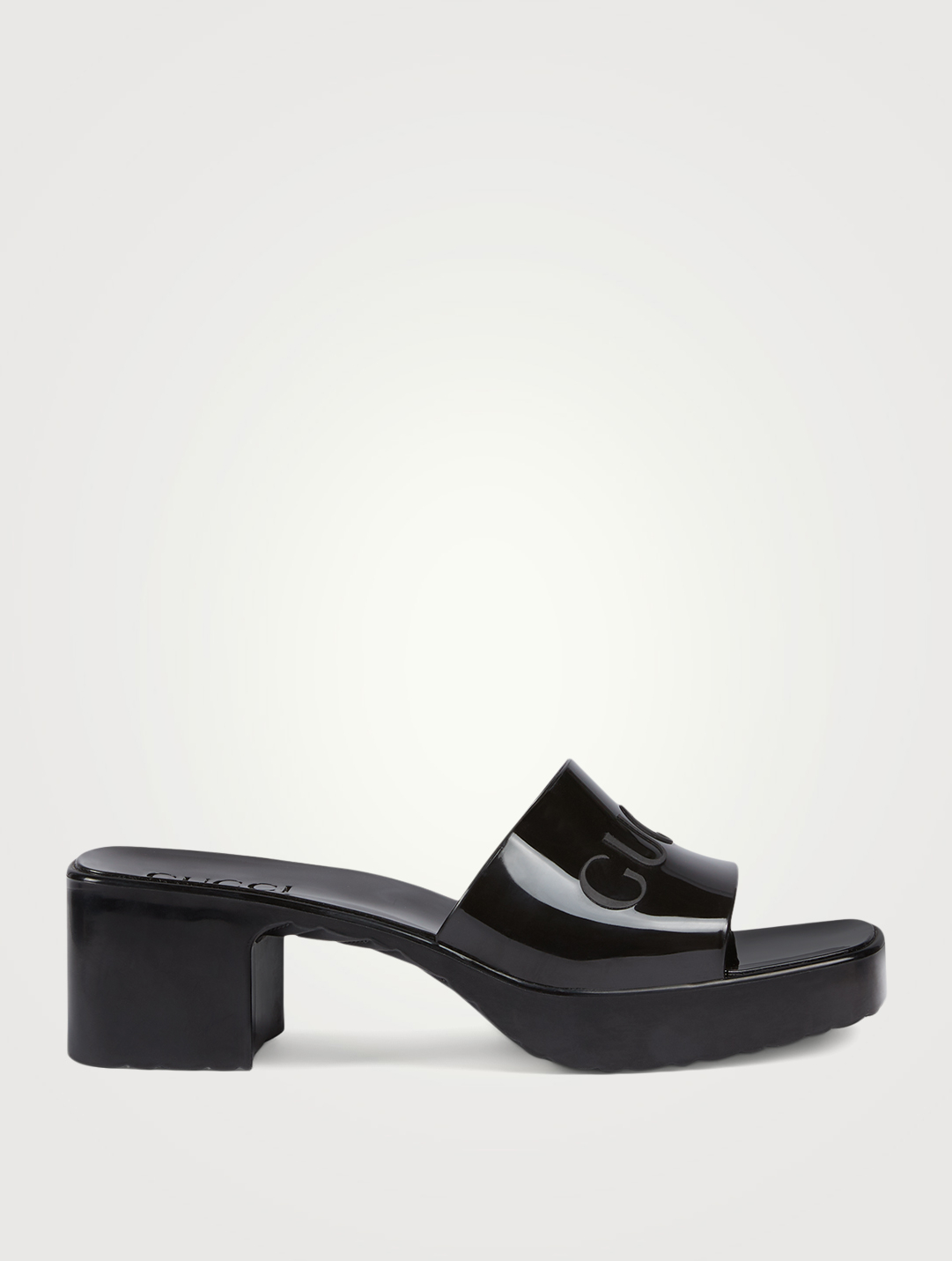 GUCCI Rubber Heeled Slide Sandals Women's Black
