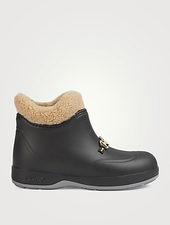 GUCCI Rubber Ankle Boots With Horsebit Women's Black