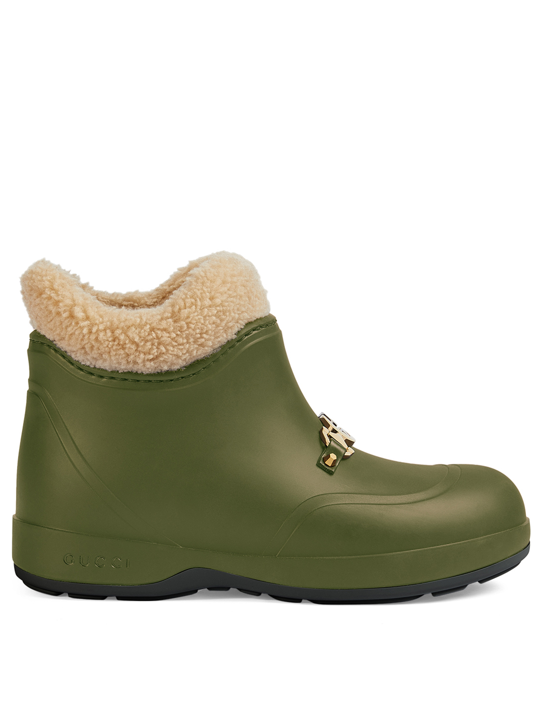 GUCCI Rubber Ankle Boots With Horsebit Women's Green