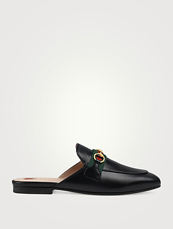 GUCCI Princetown Leather Slippers Women's Black