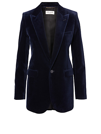 SAINT LAURENT Velvet Single-Breasted Blazer Women's Blue