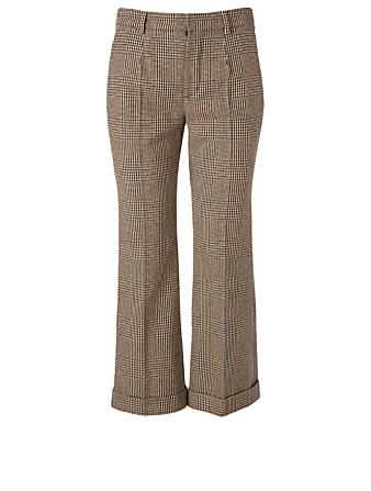 SAINT LAURENT Pantalon en mélange de laine à carreaux  Femmes Multi