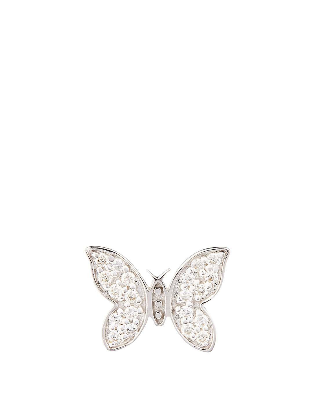 SYDNEY EVAN 14K White Gold Butterfly Earring With Diamonds Women's Metallic