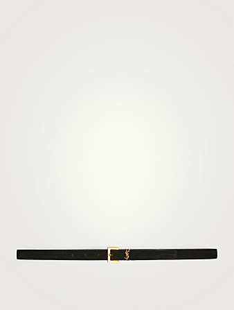 SAINT LAURENT YSL Monogram Buckle Suede Belt Women's Black