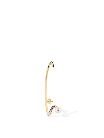 KATKIM Crescendo Flare 18K Gold Left Earring With Diamond And Pearl Women's Metallic