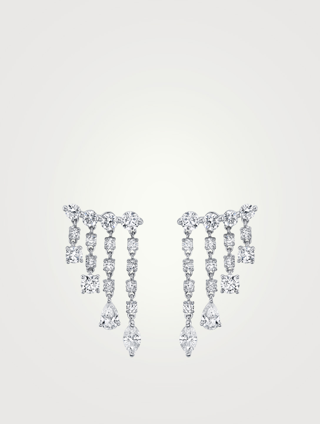 ANITA KO Petits pendants d'oreilles Rain en or blanc 18 ct sertis de diamants Femmes Metallique