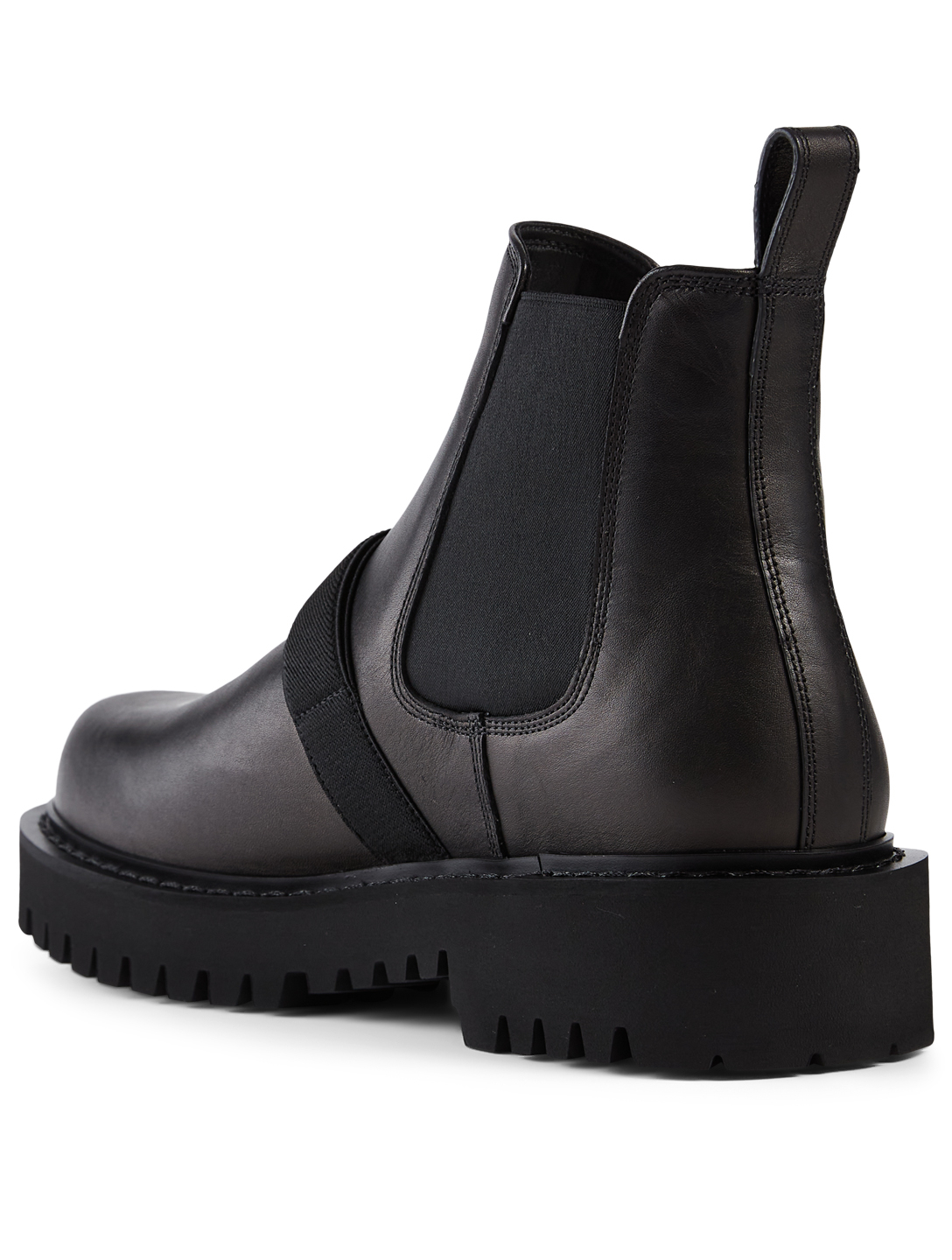 VALENTINO GARAVANI Leather Beatle Boots With VLTN Buckle Men's Black