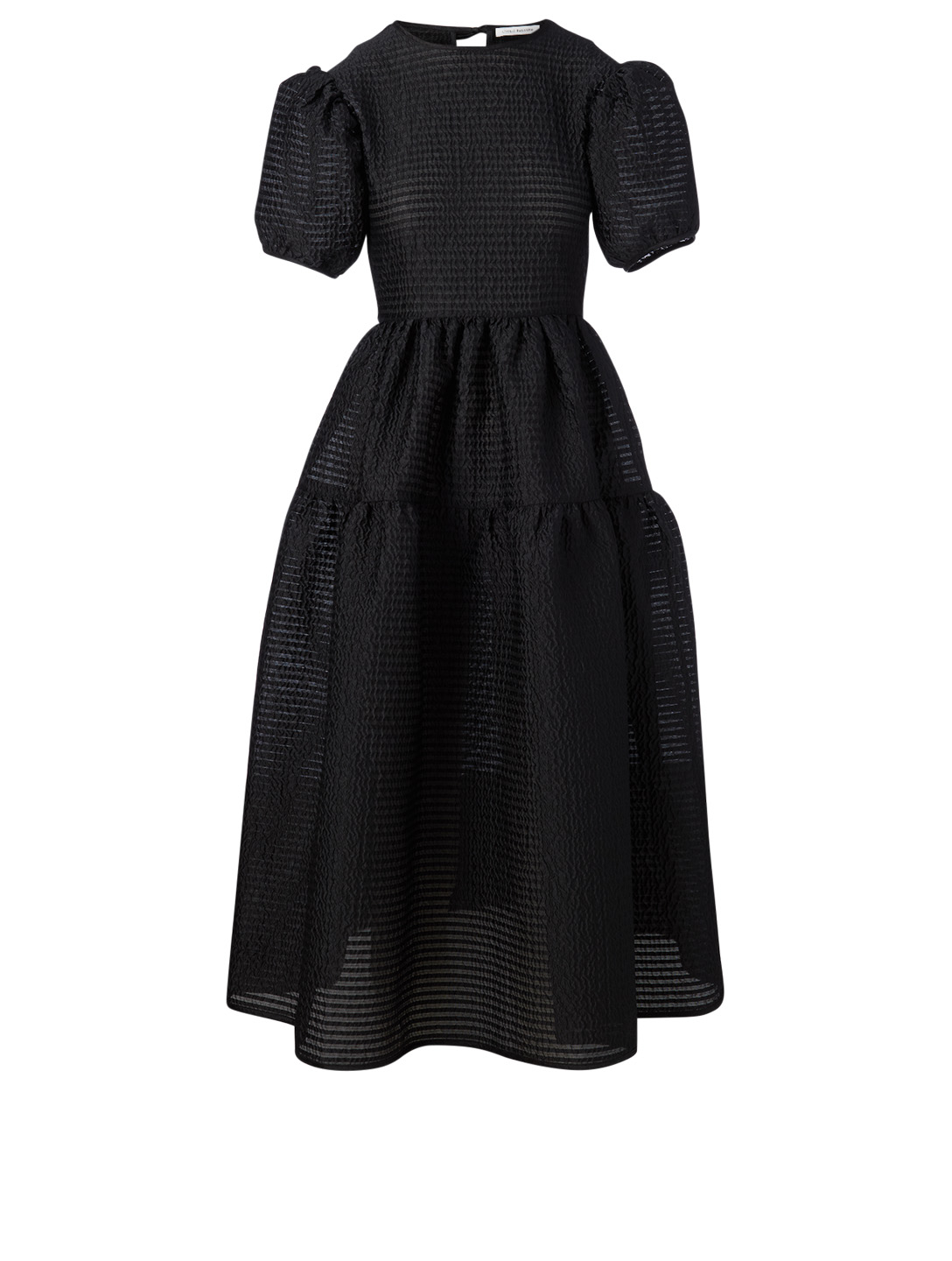 CECILIE BAHNSEN Katja Seersucker Midi Dress Women's Black