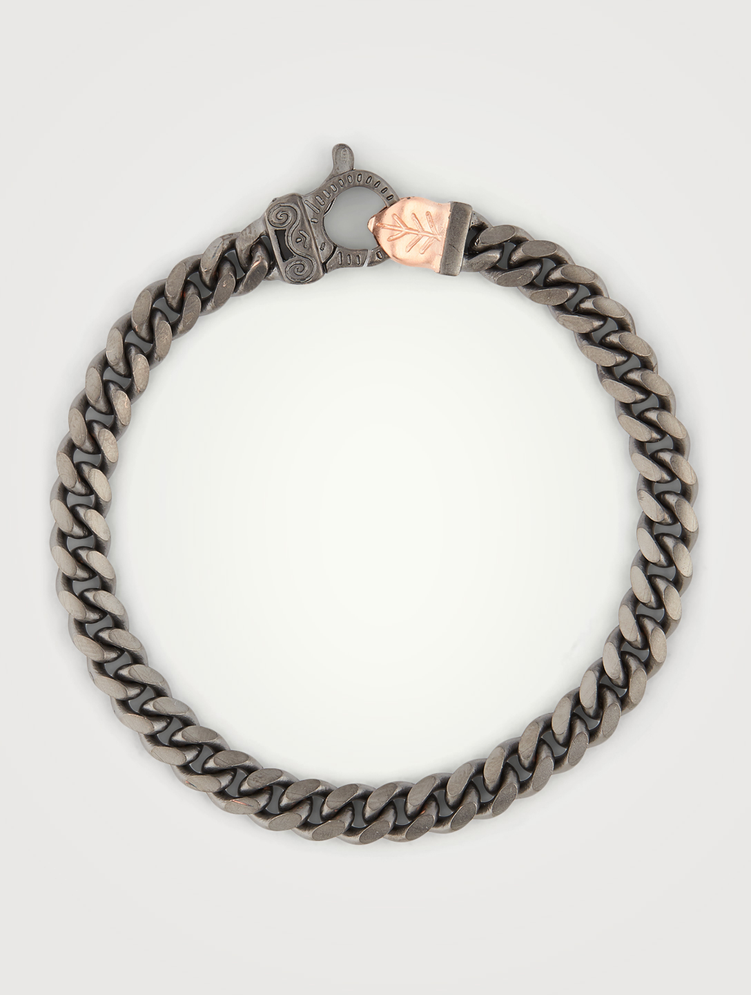 MARCO DAL MASO Flaming Tongue Silver Cuban Link Bracelet Men's Metallic