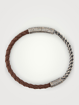 MARCO DAL MASO Lash Mixed Chain And Braided Leather Bracelet Men's Brown