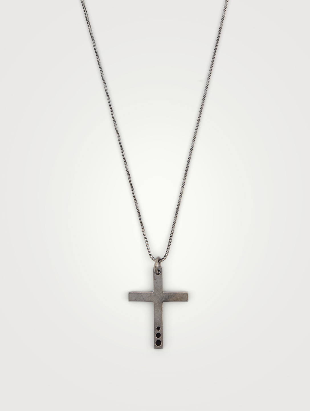 MARCO DAL MASO The Cross Oxidized Silver Wide Pendant Necklace With Black Enamel Men's Black
