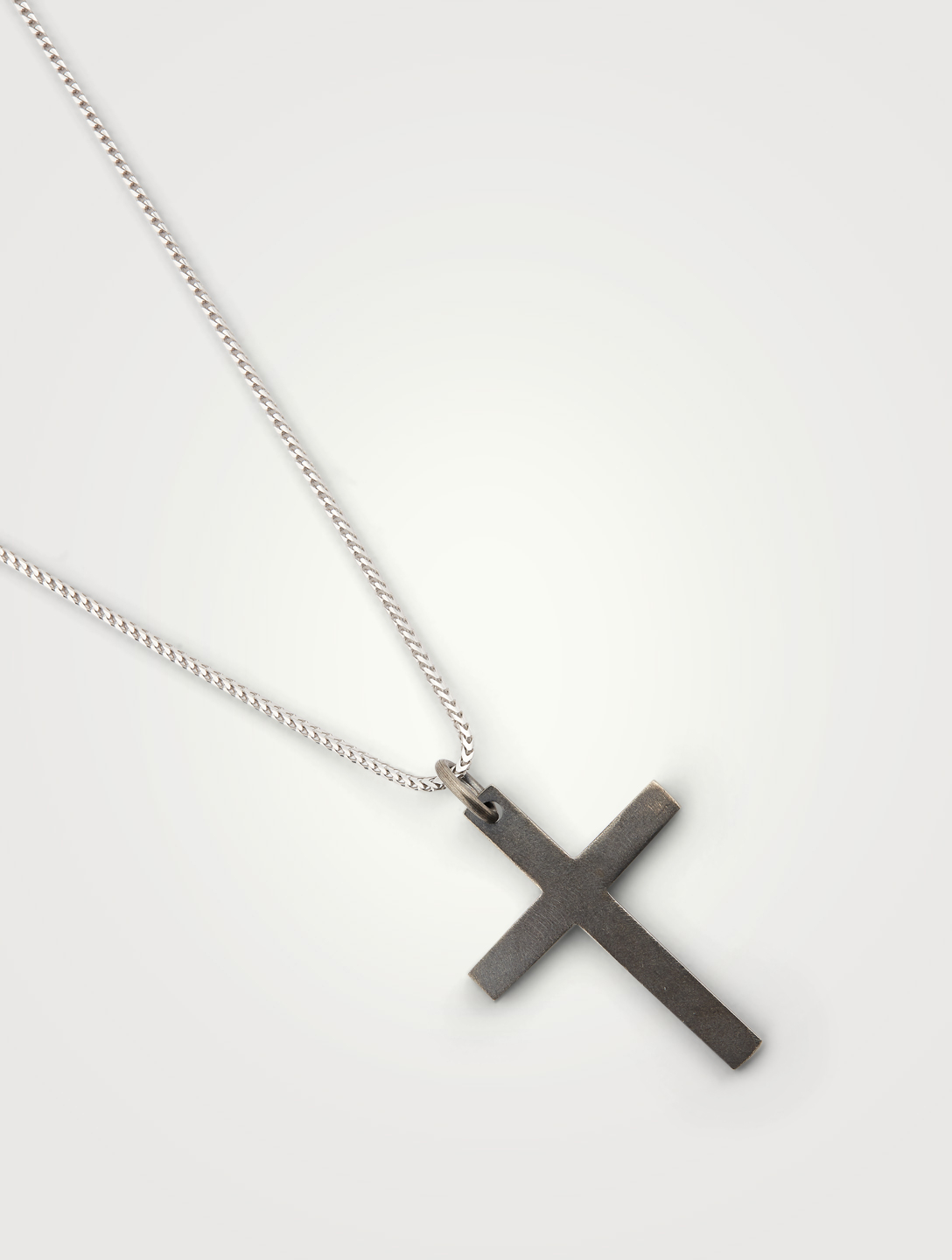 MARCO DAL MASO The Cross Black And White Silver Wide Pendant Necklace Men's Black