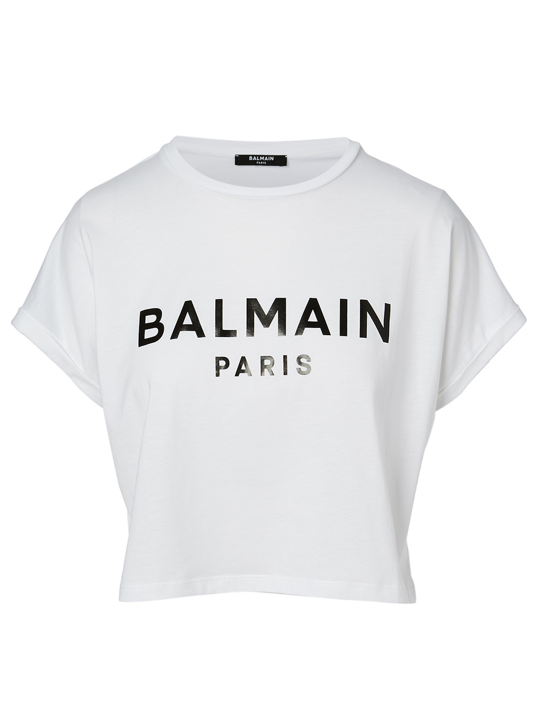 BALMAIN Cotton Cropped T-Shirt With Logo Women's White