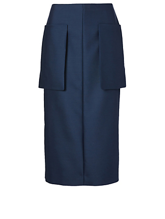 THE ROW Jenna Wool And Silk Midi Skirt Women's Blue