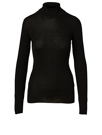 WARDROBE.NYC Wool Ribbed Turtleneck Sweater Women's Black
