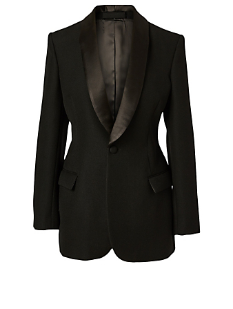 WARDROBE.NYC Wool Tuxedo Blazer Women's Black