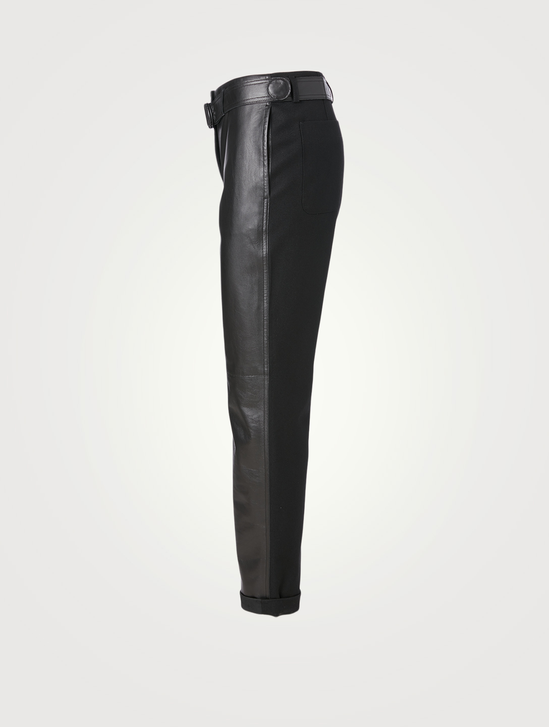 AKRIS PUNTO Leather And Wool Pants With Belt Women's Black