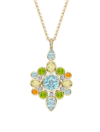 KIKI MCDONOUGH Special Edition 18K Gold Pendant Necklace With Multicolour Stones And Diamonds Women's Metallic