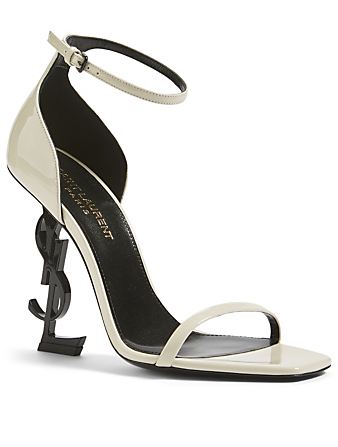 SAINT LAURENT Opyum 110 Patent Leather YSL Heeled Sandals Women's White