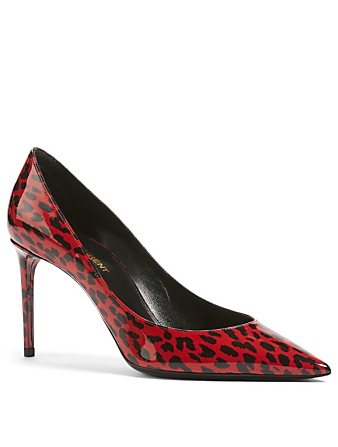 SAINT LAURENT Zoe 85 Patent Leather Pumps In Babycat Print Women's Red