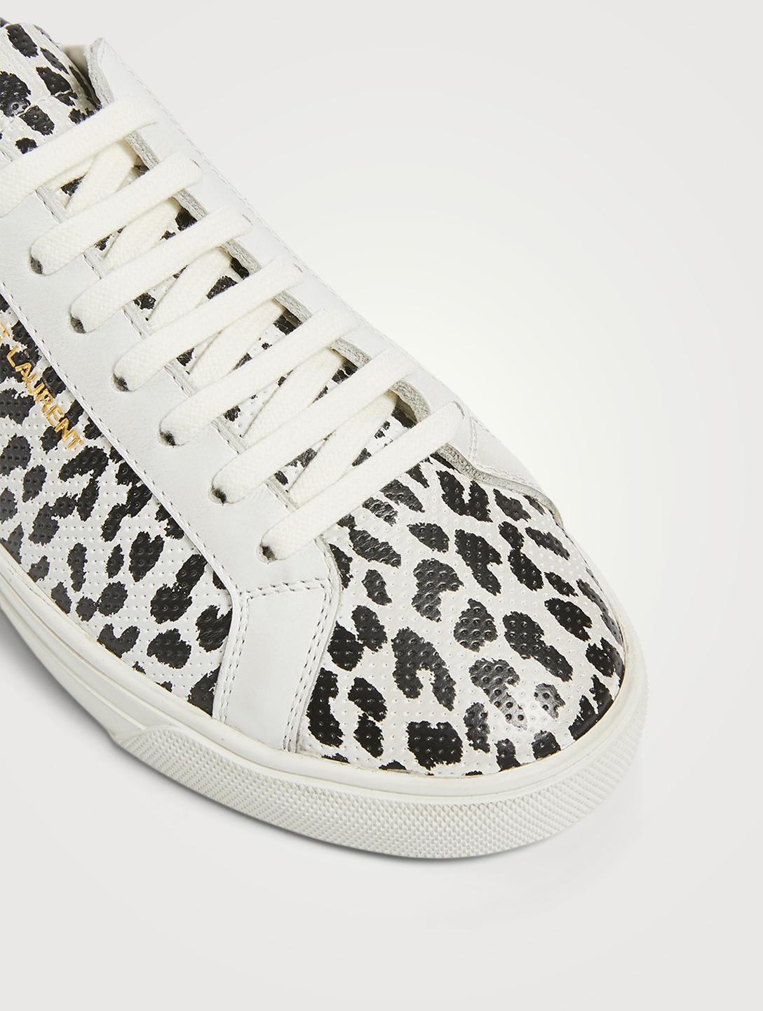 SAINT LAURENT Sneakers Andy en cuir perforé à imprimé Babycat Femmes Multi