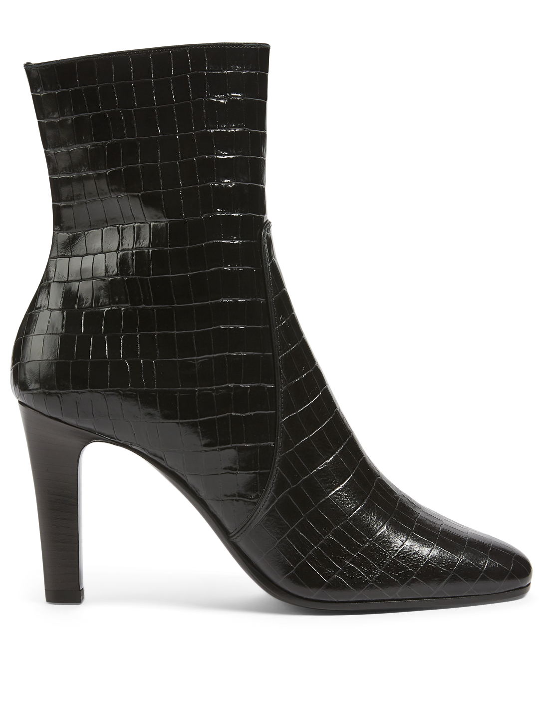 SAINT LAURENT Jane 90 Croc-Embossed Leather Heeled Ankle Boots Women's Black
