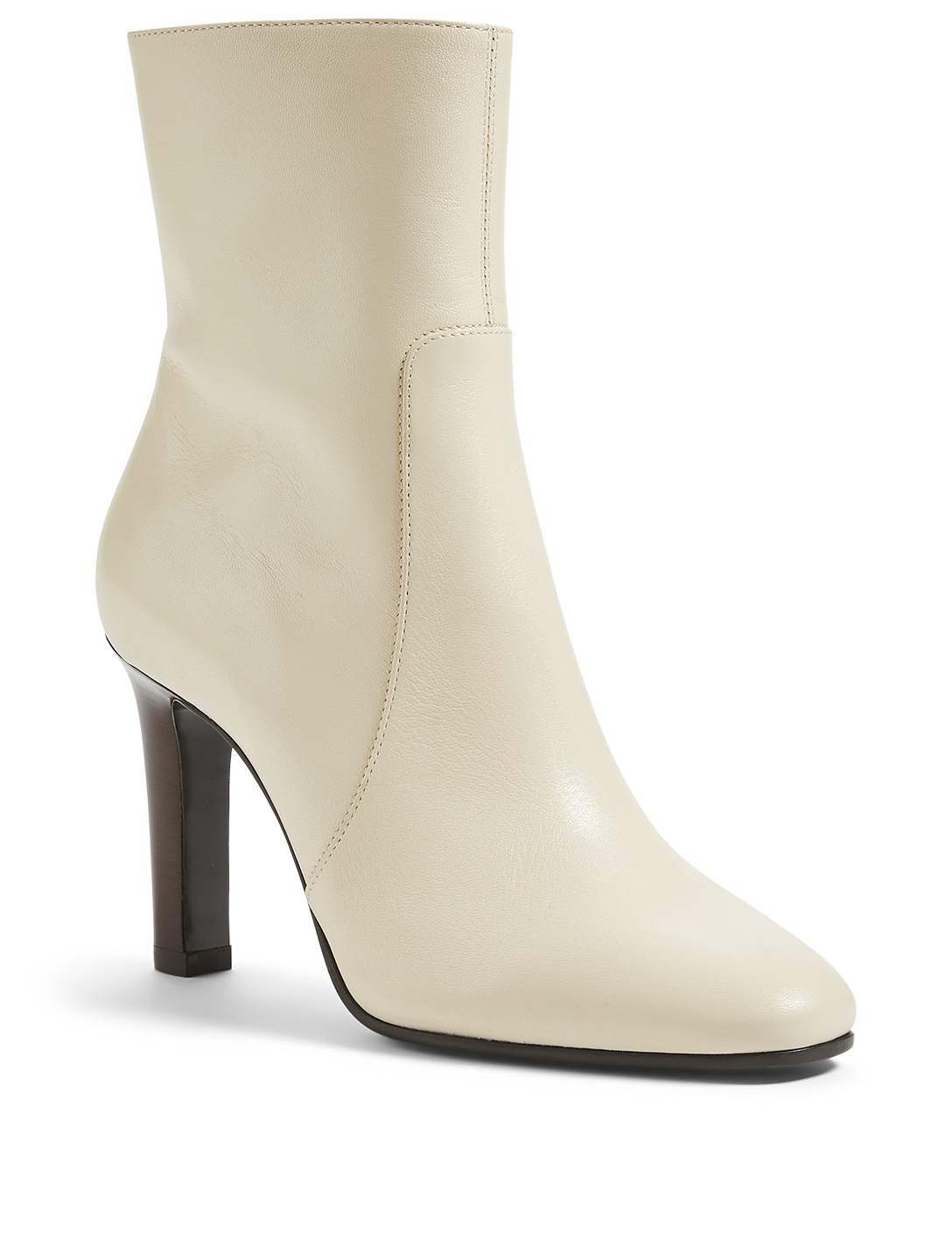 SAINT LAURENT Jane 90 Leather Heeled Ankle Boots Women's White