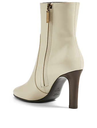 SAINT LAURENT Bottines à talon Jane 90 en cuir Femmes Blanc
