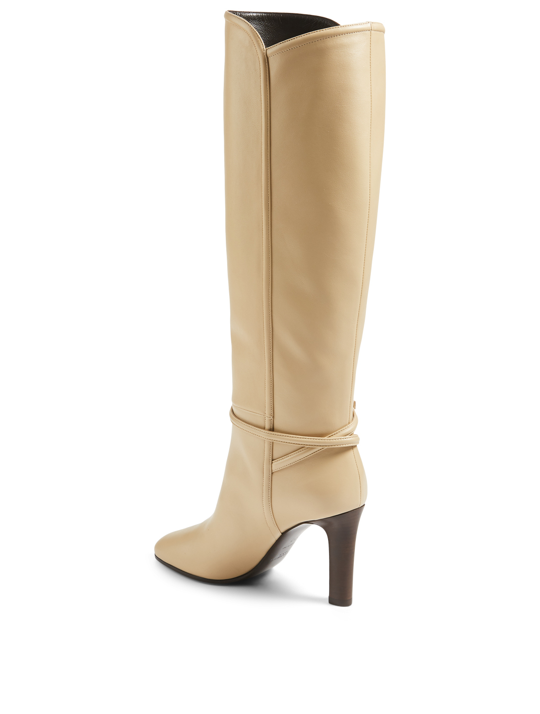 SAINT LAURENT Jane 90 Leather Heeled Knee-High Boots Women's Neutral