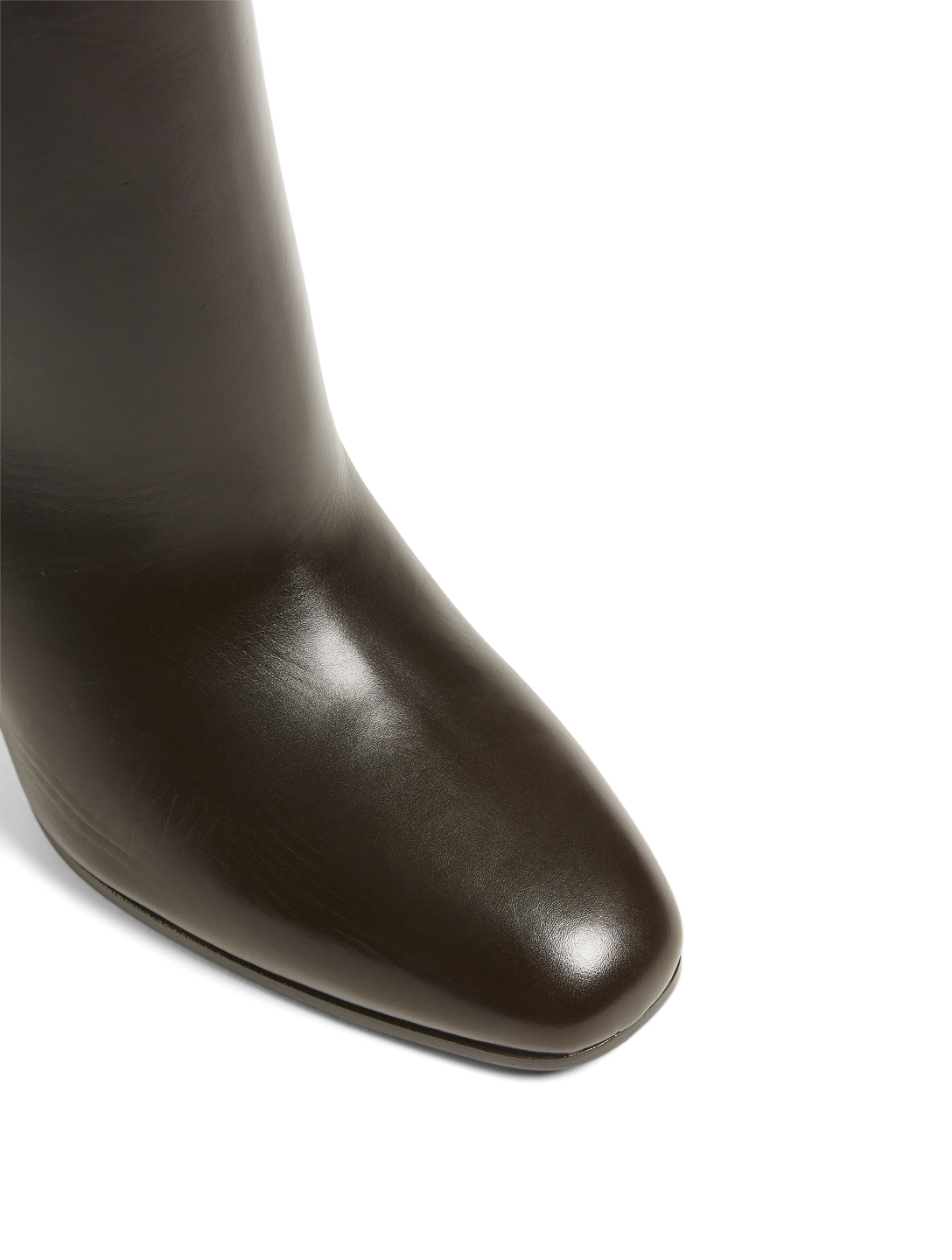 SAINT LAURENT Jane 90 Leather Heeled Knee-High Boots Women's Brown