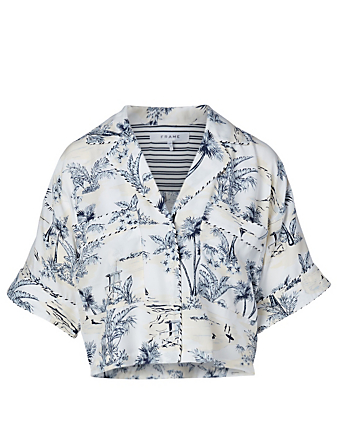 FRAME Silk Hawaiian Shirt Women's Blue