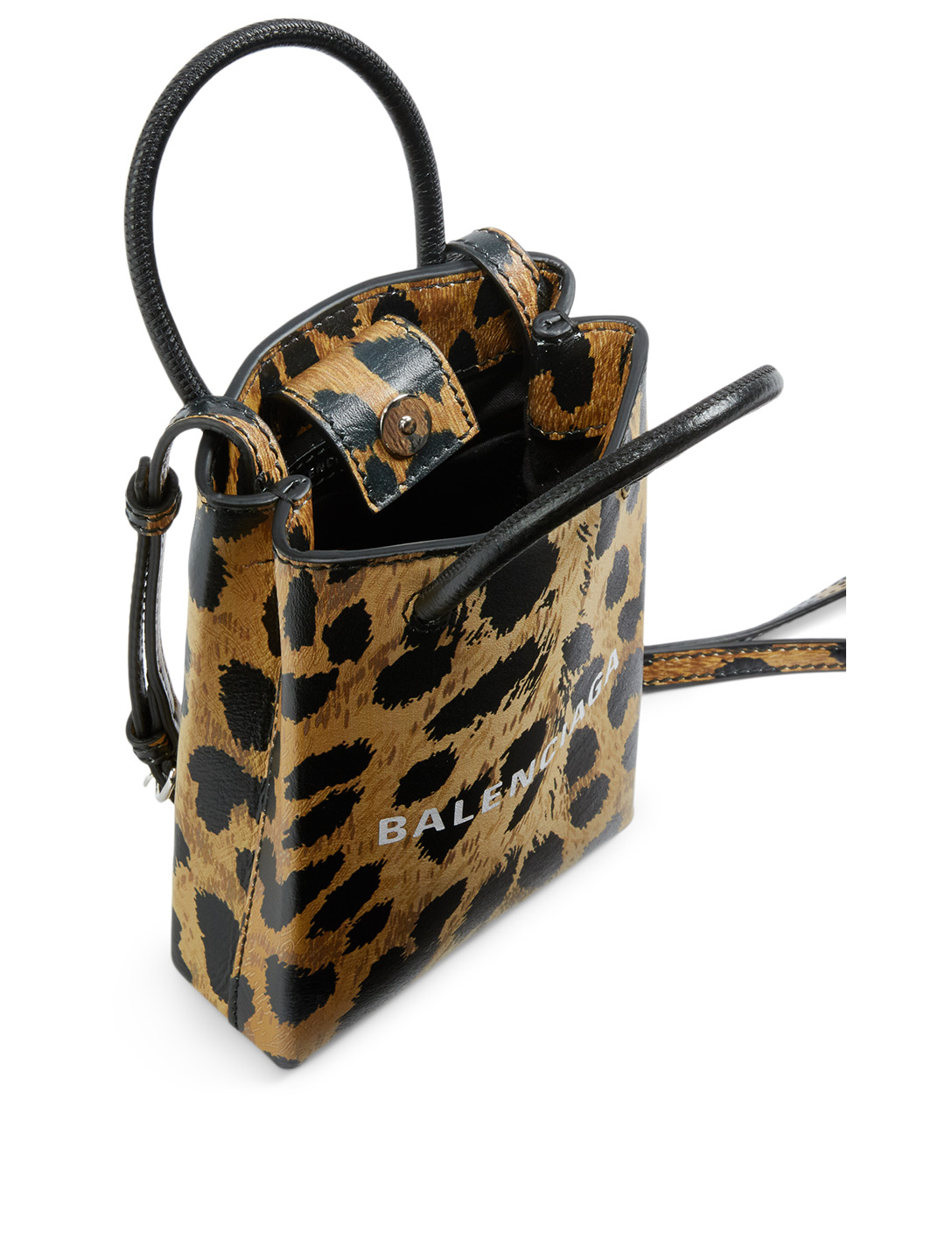 BALENCIAGA Shopping Leather Phone Holder Bag In Leopard Print Women's Brown