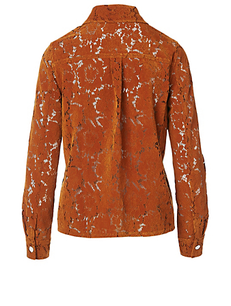 REJINA PYO Remi Flocked Lace Shirt Women's Brown