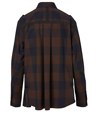 SACAI Cotton Poplin Shirt In Check Print Women's Brown