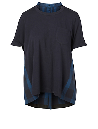 SACAI Cotton Poplin T-Shirt Women's Blue