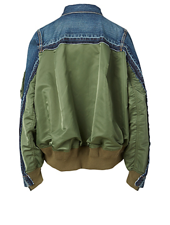 SACAI MA-1 Denim Jacket Women's Blue