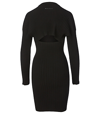MM6 MAISON MARGIELA Long-Sleeve Ribbed Knit Dress Women's Black
