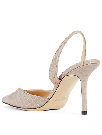 JIMMY CHOO Thandi 85 Croc-Embossed Leather Slingback Pumps Women's Grey