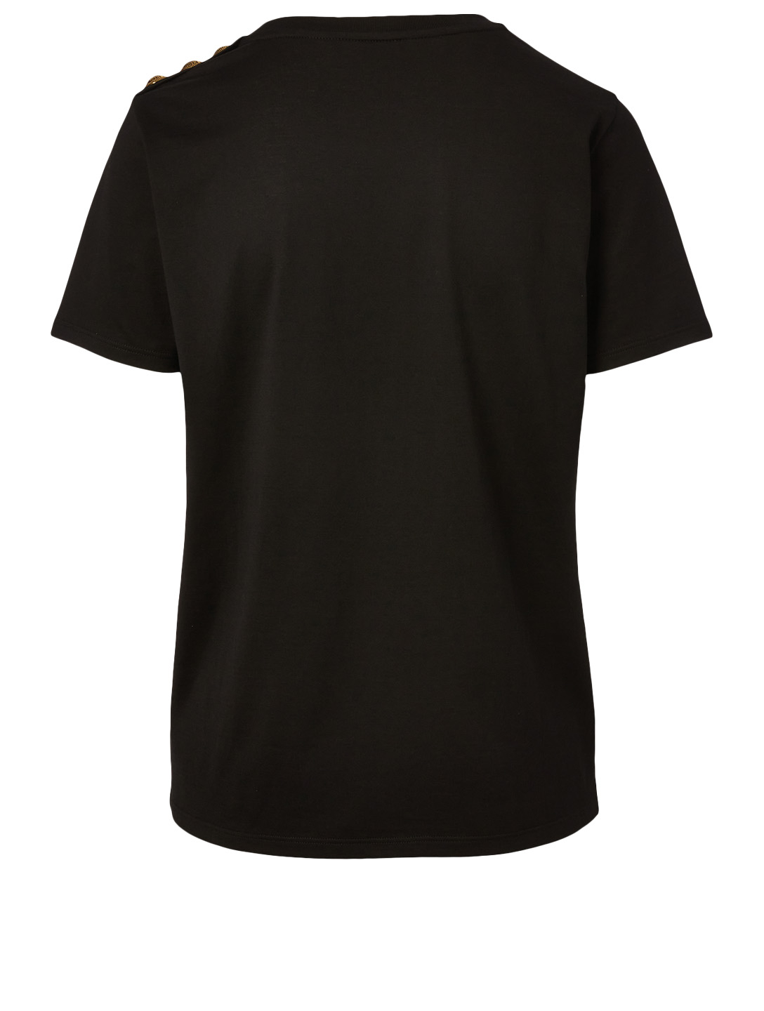 BALMAIN Cotton Relaxed T-Shirt With Buttons Women's Black