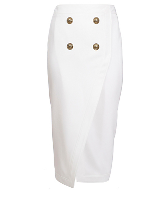BALMAIN Wool-Blend Serge Midi Skirt Women's White