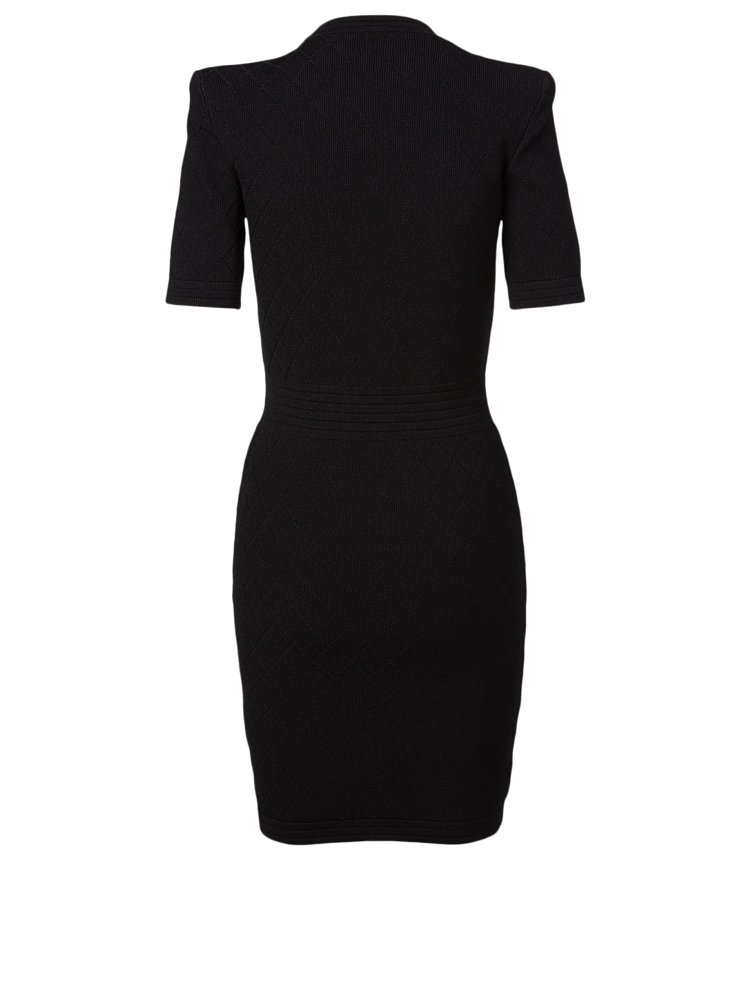 BALMAIN V-Neck Diamond Knit Mini Dress Women's Black