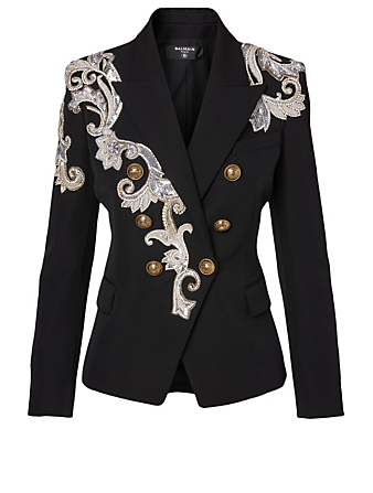 BALMAIN Wool Double-Breasted Blazer With Embroidery Women's Black