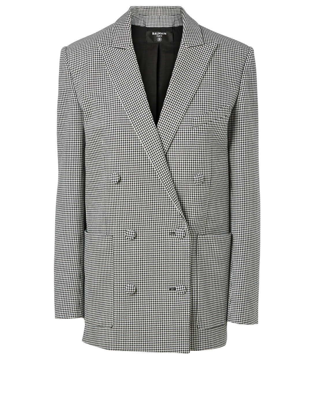 BALMAIN Cotton Boyfriend Blazer In Houndstooth Print Women's Multi