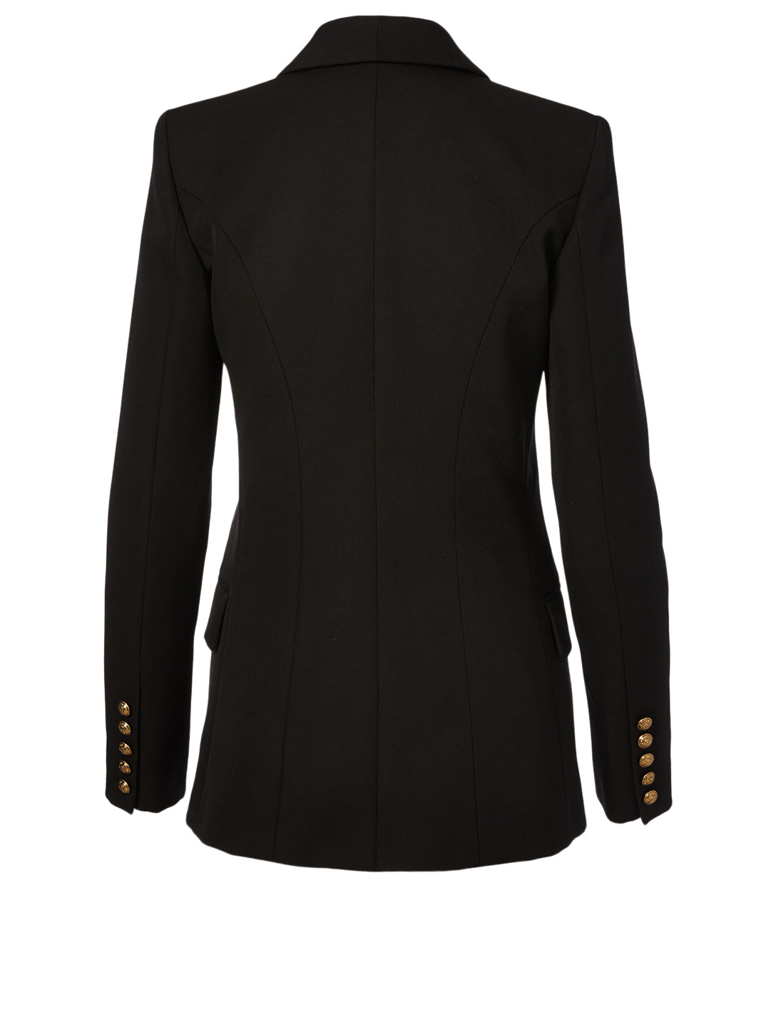 BALMAIN Wool Double-Breasted Blazer With Oversized Buttons Women's Black